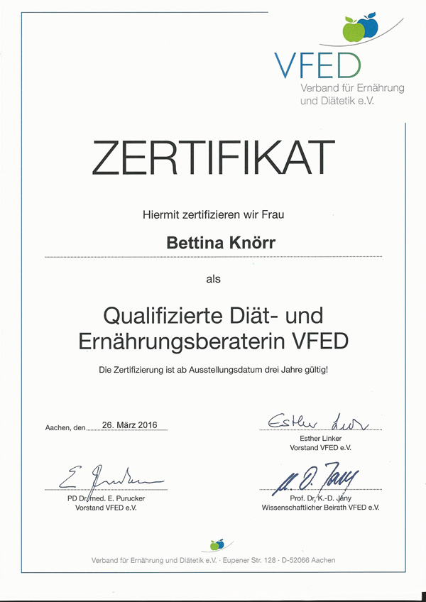 Bettina Knoerr Zertifikat VFED